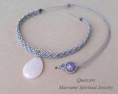 Macramé Gray Choker. ROSE QUARTZ and AMETHYST Healing Stones