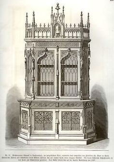 Gewerbehalle 1870 FIGURED GOTHIC BOOKCASE