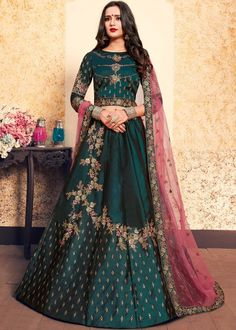 Elegant and Perfect party wear and untouched for fashion this Satin and Soft Net Wedding Special Lehenga Choli for Ladies. This fashion designer wedding lehenga decked with thread embroidery design on the whole outfit. Choli Designs, Lehenga Designs, Mehndi Designs, Lehenga Choli Online, Bridal Lehenga Choli, Bollywood Lehenga, Bollywood Style, Indian Designer Outfits, Indian Outfits