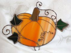 Stained Glass Suncatcher Pumpkin Lt by SunroomGlass on Etsy, $15.00