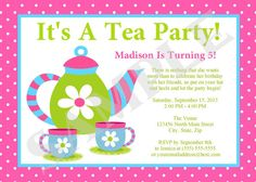 tea party invitation Party Pinterest Girls tea party Tea