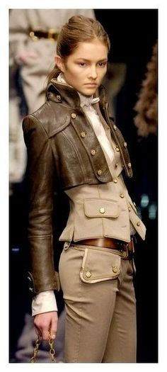 Brown Leather Jacket Three Piece Outfit Click for more - Totally not me, but a gorgeous way to do a little steampunk without going all costumey.