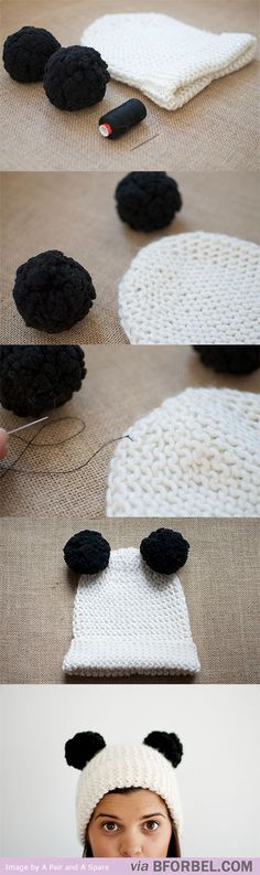 b for bel: How to: Pompom Panda Beanie!