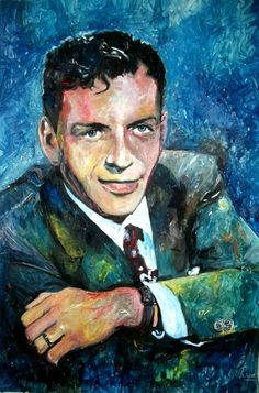 """Frankie boy"" Frank Sinatra - mixed media - 28x40 inches - Original art by Marcelo Neira"