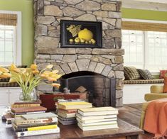 Lime green appears tame when softened with accents of peach and lemon yellow. White trim around windows and doors keeps the living room walls looking breezy and fresh.   - CountryLiving.com