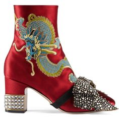 Gucci Dragon Satin Mid-Heel Ankle Boot ($2,980) ❤ liked on Polyvore featuring shoes, boots, ankle booties, red, red zipper boots, ankle boots, bootie boots, red bootie and bow booties