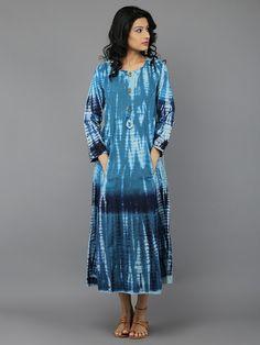 Blue Tie and Dye Cotton Dress