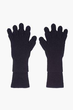 Kris Van Assche | Black Double Layer Knit Gloves.