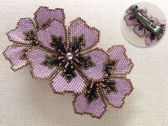 Beaded Flowers Patterns, Beading Patterns, Beaded Jewelry Designs, Bead Jewellery, Beaded Ornament Covers, Seed Bead Flowers, Beaded Banners, Hair Beads, Beaded Brooch
