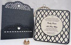 Ornate Elegance Header Black & Ivory Pocketfold Wedding Invitation