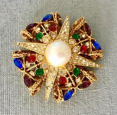 Byzantine Gold, Maltese Cross, Cross Jewelry, Blue Sapphire, Emerald Green, Baroque Pearls, Crystal Rhinestone, Vintage Jewelry, Amethyst