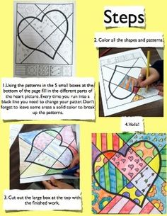 "Valentine's Day ""Pop Art"" Draw and Color Worksheet/Printab"