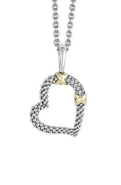 LAGOS 'Diamond Lux' Diamond Heart Pendant Necklace