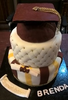 Graduation Cake Cap board candy melts, cap base rice krispie treat, top layer choc choc chip, base light vanilla pound, fondant and edible gold sprinkles and gold butter cream ribbon.