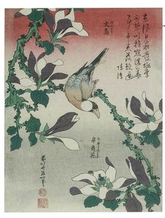 HOKUSAI (Litsu) 1834 Java Sparrow on Magnolia, Moineau de Java et magnolia de Kobe, from an untitled series known as Small Flowers colour woodblock print x cm Katsushika Hokusai, Magnolia Flower, Art Institute Of Chicago, Art Graphique, Japan Art, Chinese Painting, Chinese Art, Japanese Artists, Museum Of Fine Arts