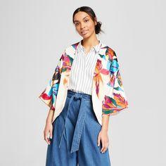 Women's Floral Print Kimono - A New Day Stucco