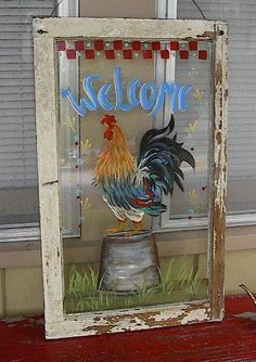 Awesome rooster painting on an old window house window painting Susan Wymola Art & Musings Rooster Painting, Rooster Art, Rooster Decor, Tole Painting, Painted Window Panes, Window Pane Art, Old Window Screens, Painted Screens, Old Windows Painted