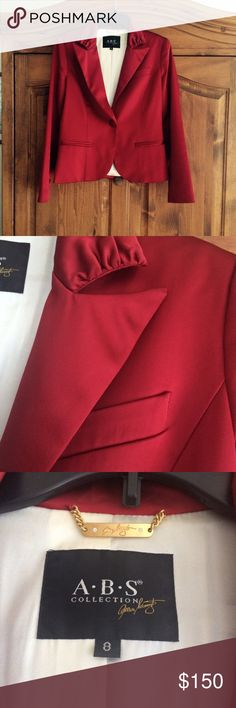 A.B.S. ALLEN SCHWARTZ RED JACKET RED SATIN LOOK FULLY LINED ONE BUTTON JACKET.  EUC WORN FOR HOLIDAY PARTY A.B.S.  Jackets & Coats Blazers