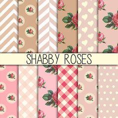 Shabby Roses Instant Download Set of 12 12x12 by babushkadesign