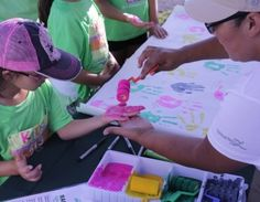 Volunteers from around the world helped collect the handprints of people of all ages.