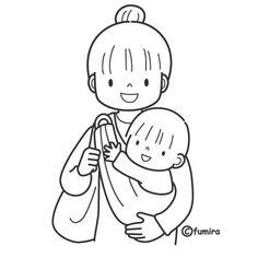 babywearing coloring page