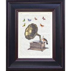 Crown McConoghie 'Gramophone, Bird and Butterflies' Framed Art Print