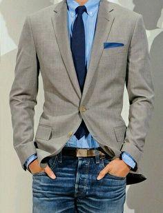 Ook leuk idee. Casual smart blue on blue #pochet #stropdas #denim Www.mightygoodman.nl