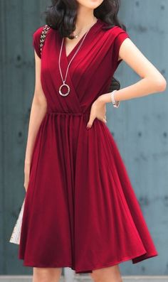Cap Sleeve Ruched Red Wrap Dress