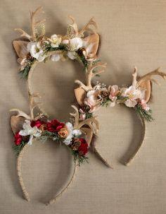 Red Pink or Gold Antler Headband, Diy Headband, Baby Headbands, Flower Headbands, Headband Pattern, Christmas Hat, Christmas Projects, Christmas Holidays, Christmas Headdress