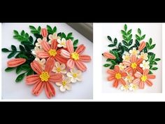 Paper Quilling Flower For beginner Learning Video 26// Paper Flower Card // Thank you card - YouTube