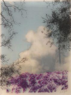 Brooks Salzwedel, Purple Blue Mountain, 2014, graphite, inkjet, tape, resin, panel, 12 x 9 inches