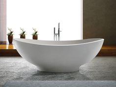 Filigran geschwungene, dennoch markante, breite Wannenränder: Die #Badewanne #Vicenza vereinigt beides. Der voluminöse Wannenbauch eignet sich ideal für doppelten #Badespaß zu zweit oder als klassische #Familienbadewanne. Die ovale, zeitlose Formgebung verbindet hohe Funktionalität und ästhetisches #Design.. Badewanne freistehend.  #bädermax #mineralguss #freistehendebadewanne # freihestende