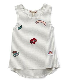 Take a look at this Speechless White & Gray Stripe Patches Hi-Low Tank - Girls today!
