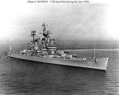 USS Saint Paul, a Baltimore Class cruiser originally launched by the Bethlehem Steel Company from Quincy, Massachusetts in 1944.