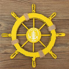 Nautical Wood Boat Ship Steel Ring Wheel Net Party Beach Home Wall Decoration 28cm