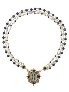 San Benito Oval Magdala Necklace Midnight Blue Pearl & Gold New from VSA Designs! $262