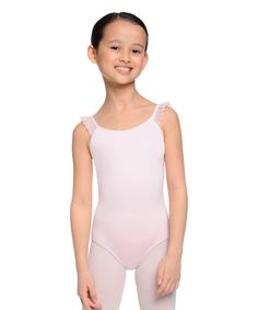Petal Pink Ruffle-Sleeve Leotard - Toddler & Girls