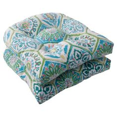 Pillow Perfect Indoor/Outdoor Summer Breeze Wicker Seat Cushion, Pool, Set of 2 #deals