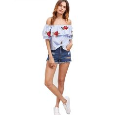 00f0fc5e220f9 Blue Embroidered Off The Shoulder Floral Crop Top