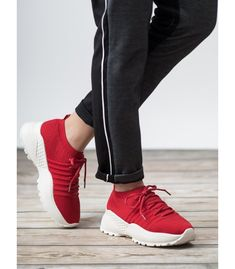 The red, slip-on VICES sneakers are perfect for warmer seasons. They work great as walking shoes every day. The shoes are made of a very breathable, synthetic material, thanks to Types Of Heels, Walking Shoes, Sports Shoes, Sports Women, Adidas Sneakers, Winter Fashion, Slip On, Sporty, Boots