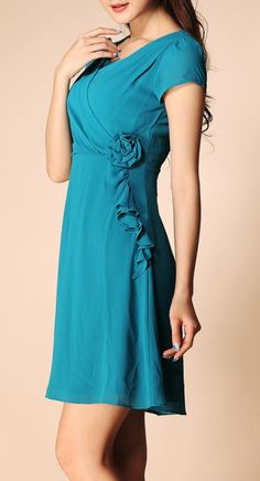 Teal Rossete Ruffle Dress ♥