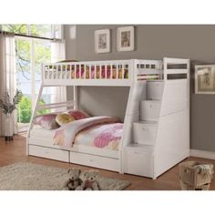 Twin/ Full Storage Step Bunk Bed with 2 Drawers White - Walmart.com