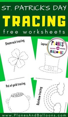 St Patricks day tracing worksheets for toddlers and preschoolers - free printable tracing sheets for st patricks day fine motor skills activities. #prek #planesandballoons Addition And Subtraction Worksheets, Tracing Worksheets, Worksheets For Kids, Learning Time, Toddler Learning, Toddler Preschool, St Patrick Day Activities, Spring Activities, Preschool Printables