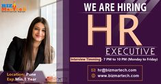 We are Hiring HR Executive Immediate Joiners Preferred Walkin Between : 7:00 PM to 10:00 PM :- Monday-Friday Interested candidates can send updated CV on hr@bizmartech.com  #hr #job #hiring #executive #punelocation #salary #nowhiring #openings  #work We Are Hiring, Jobs Hiring, Monday Friday