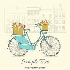 Fondo vintage de bicicleta dibujada a mano con bonitas cestas Vector Gratis