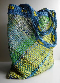 Your place to buy and sell all things handmade 100 % recycled, original - this tote is hand woven of multicolored, repurposed plastic bags! A vibrant, ecological carrier which will Plastic Bag Crafts, Plastic Bag Crochet, Recycled Plastic Bags, Plastic Grocery Bags, Recycled Crafts, Loom Weaving, Hand Weaving, Weaving Projects, Handmade Bags