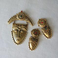Brooch + Earrings Mayan Mask African Mask Jewelry Set Aztec Jewelry Avon Pin + Clip On Earrings