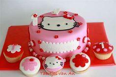 Voor de eerste verjaardag van Rosanne. Met bijpassende cupcakes.