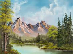 Pretty sure I watched him paint this one on PBS. Love me some Bob Ross! Peaceful Landscape Paintings by Bob Ross - Bob Ross oil paintings : Mountain Cabin 26 The Joy Of Painting, Oil Painting On Canvas, Bob Ross Landscape, Landscape Art, Landscape Paintings, Pinturas Bob Ross, Bob Ross Paintings, Paintings For Sale, Oil Paintings