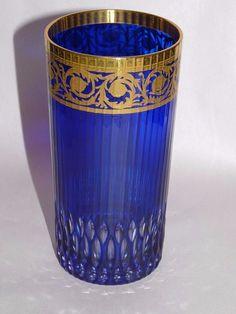 St. Louis Crystal Thistle Cobalt Gold Band 12 oz Tumbler Glass Sold Individually #SaintLouis